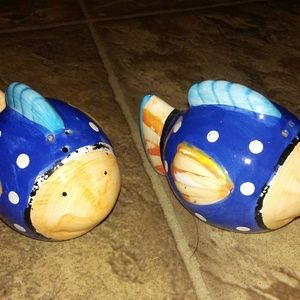 Fish ceramic salt and pepper shakers
